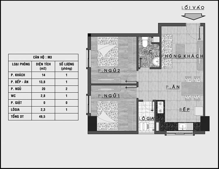 Bản vẽ tham khảo thiết kế nội thất nhà chung cư 50m2