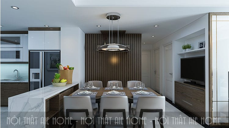 Phòng bếp căn chung cư 100m2 3 phòng ngủ