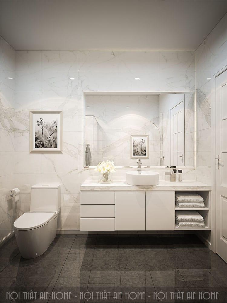 Khu vực vệ sinh trong thiết kế nhà 100m2 3 phòng ngủ  1
