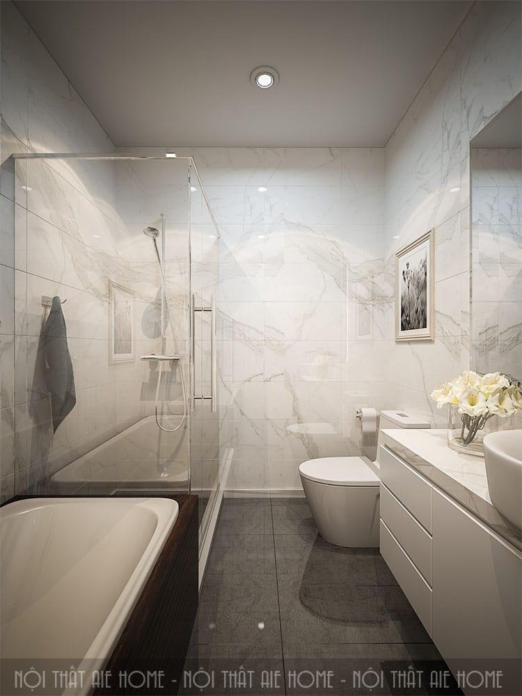 Khu vực vệ sinh trong thiết kế nhà 100m2 3 phòng ngủ 2