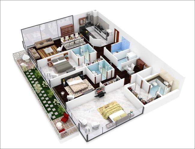 Mẫu thiết kế nhà chung cư 100m2 3 phòng ngủ 1