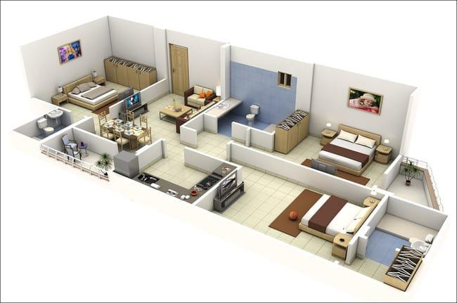 Mẫu thiết kế nhà chung cư 100m2 3 phòng ngủ 2