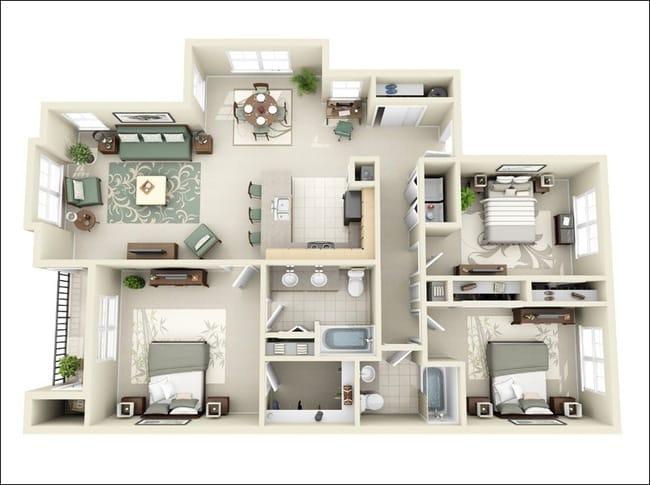 Mẫu thiết kế nhà chung cư 100m2 3 phòng ngủ 3