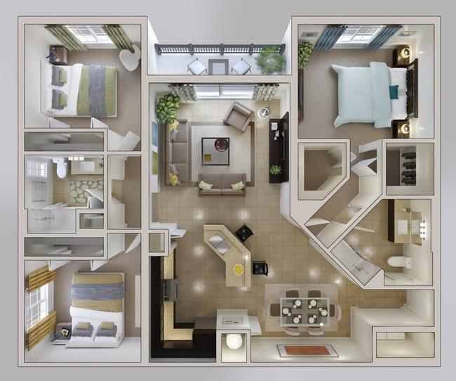 Mẫu thiết kế nhà chung cư 100m2 3 phòng ngủ 4