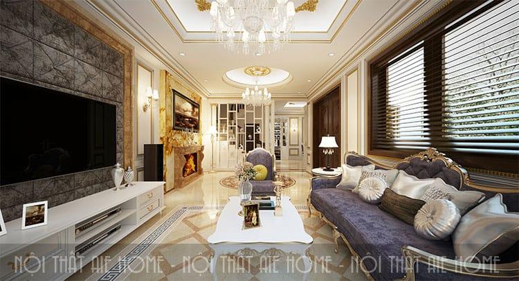 Phòng khách trong thiết kế biệt thự phong cách tân cổ điển 1