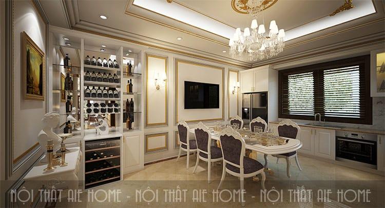 Không thể thiếu đèn chùm trong thiết kế phòng ăn của biệt thự phong cách tân cổ điển