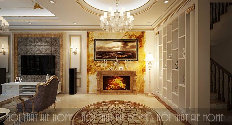 Phòng khách trong thiết kế biệt thự phong cách tân cổ điển 2