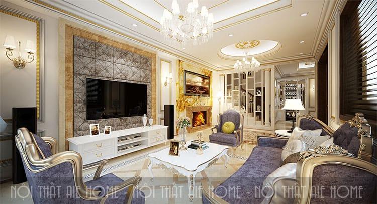 Phòng khách trong thiết kế biệt thự phong cách tân cổ điển 4