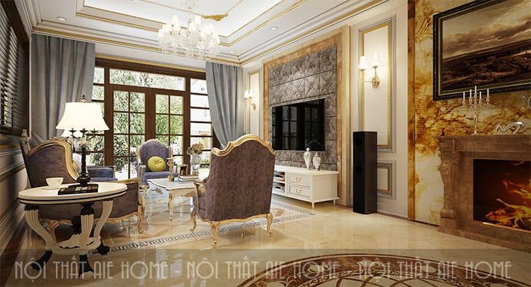 Phòng khách trong thiết kế biệt thự phong cách tân cổ điển 3