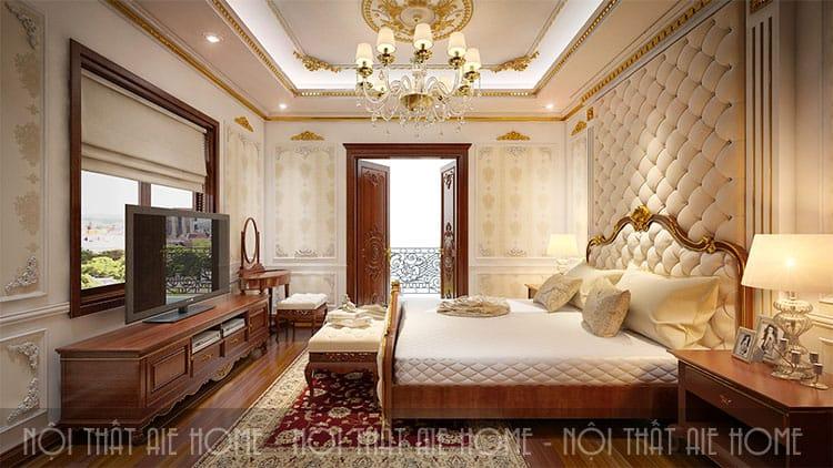 Phòng ngủ trong thiết kế biệt thự phong cách tân cổ điển 2