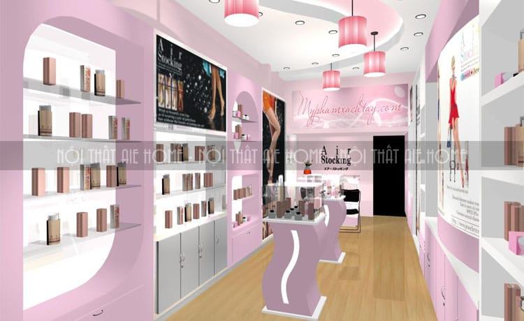 Thiết kế Spa nhỏ đẹp với sự kết hợp của màu hồng tím và màu trắng