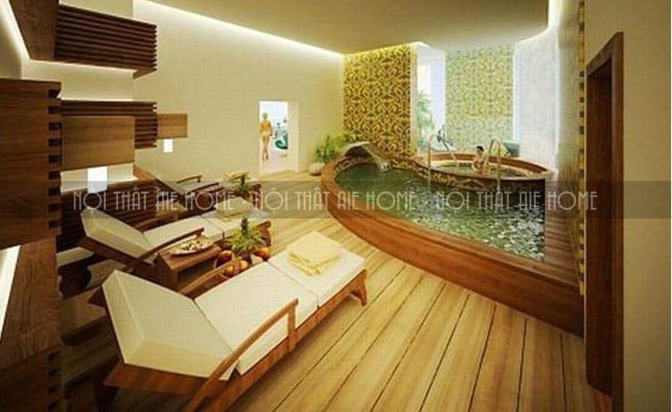Phòng spa nhỏ với đồ nội thất với kiểu dáng đơn giản