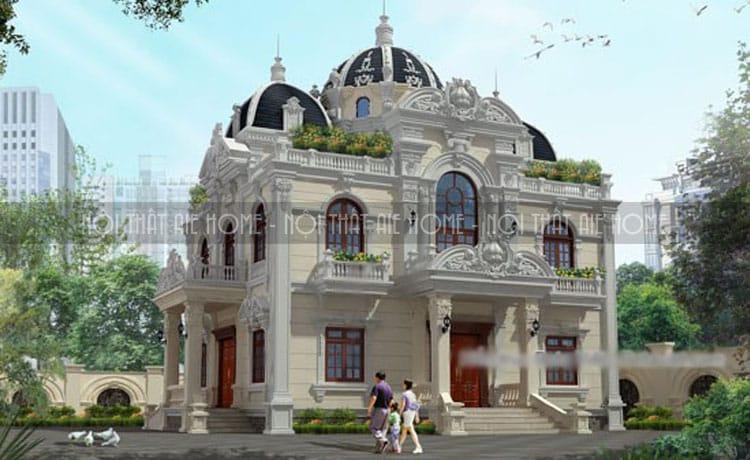 mẫu thiết kế biệt thự cổ điển 3 tầng 2