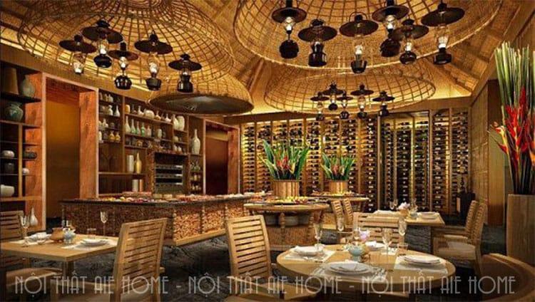 Mẫu thiết kế nhà hàng bằng tre ấn tượng