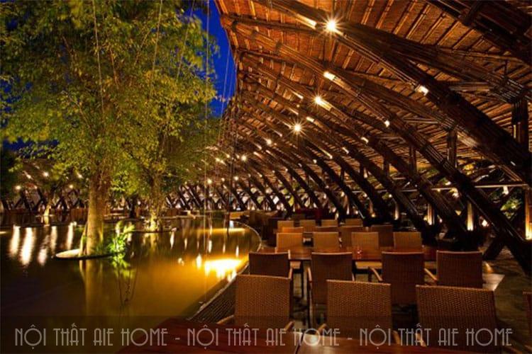 Thiết kế nhà hàng bằng tre tạo cảm giác yên bình