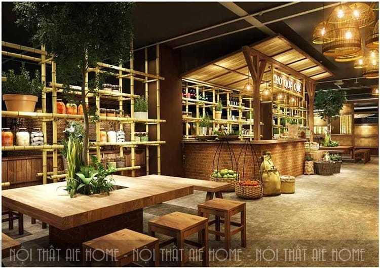 Mẫu thiết kế nhà hàng ăn uống theo phong cách đồng quê