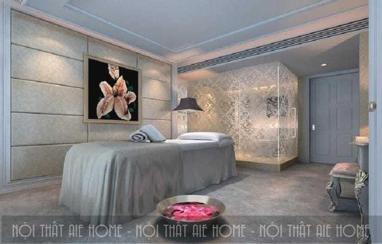 Mẫu spa trông hiện đại và tinh tế hơn với nét chấm phá là bức tranh bông hoa treo tường