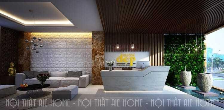 mẫu thiết kế nội thất spa với sảnh ngồi chờ hiện đại