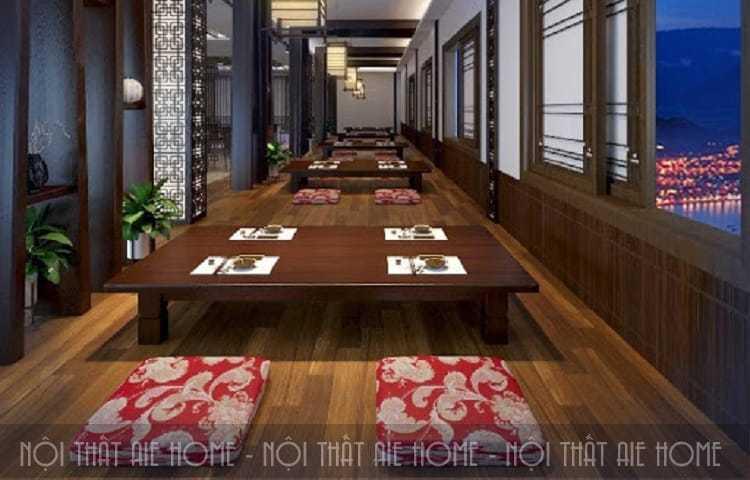 thiết kế nhà hàng Hàn Quốc sử dụng vật liệu chính là gỗ