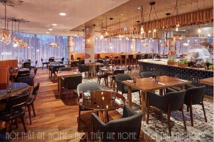 Không gian ăn uống nhà hàng khách sạn được thiết kế hiện đại
