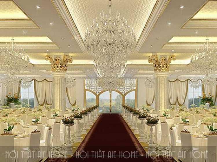 Thiết kế nhà hàng Châu Âu theo phong cách tiệc cưới cũng là một ý tưởng vô cùng độc đáo