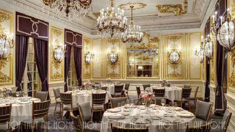 Thiết kế nhà hàng Châu Âu theo phong cách cổ điển đầy xa hoa và tráng lệ