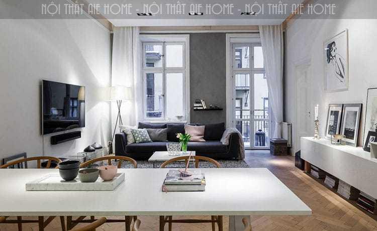 Kết hợp màu trong thiết kế phòng khách chung cư 45m2