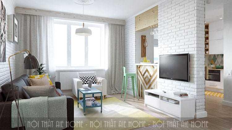 Thiết kế nội thất phòng khách chung cư 45m2