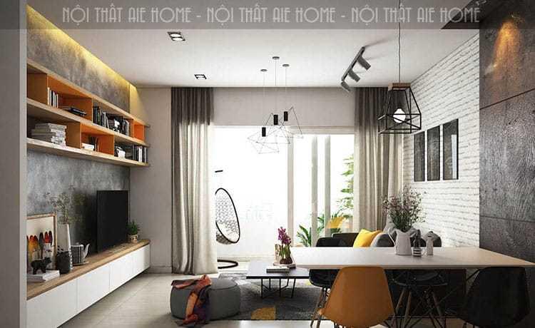 Kết hợp không gian phòng khách và không gian giải trí