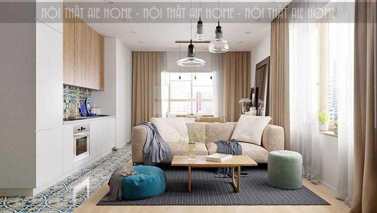 Phòng khách và phòng ăn được thông với nhau