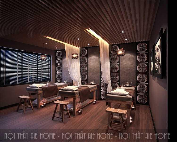 Nội thất spa thiết kế theo phong cách nghệ thuật với những hoa văn họa tiết tỉ mỉ