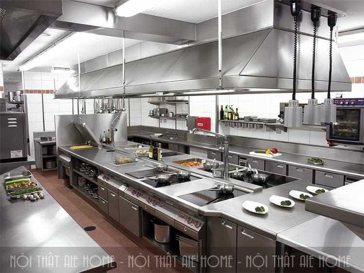 Thiết kế nhà bếp không với đầy đủ các thiết bị đồ dùng