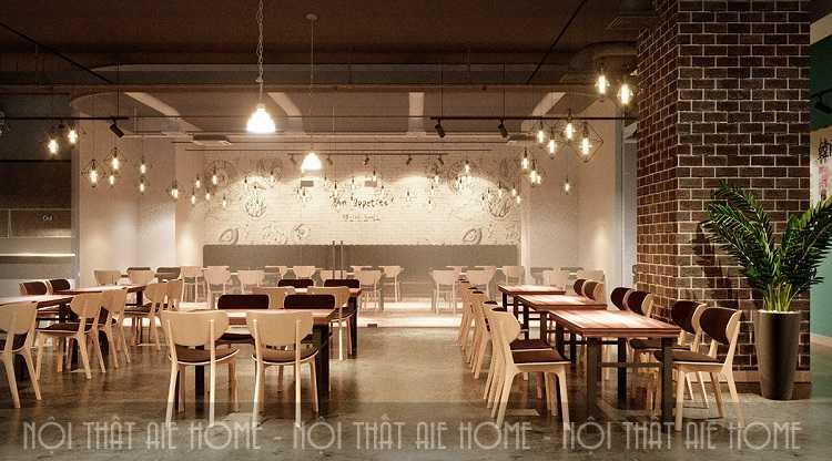 Mẫu thiết kế nhà hàng ăn uống kết hợp với các đèn điện trang trí