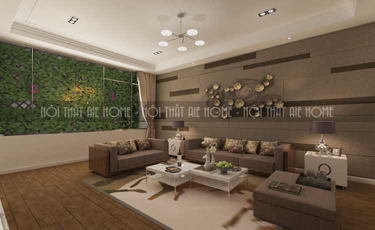 Thiết kế phòng khách biệt thự hiện đại với nền gỗ