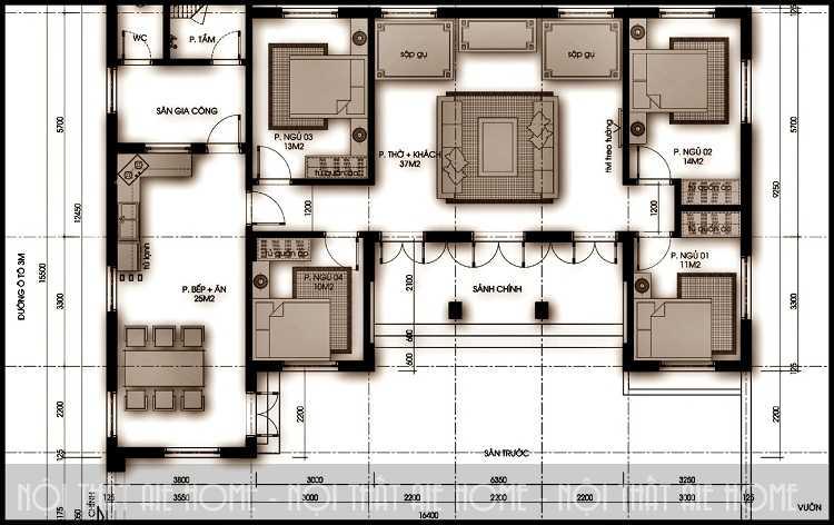 Những nguyên tắc cơ bản khi thực hiện bản thiết kế biệt thự 2 tầng