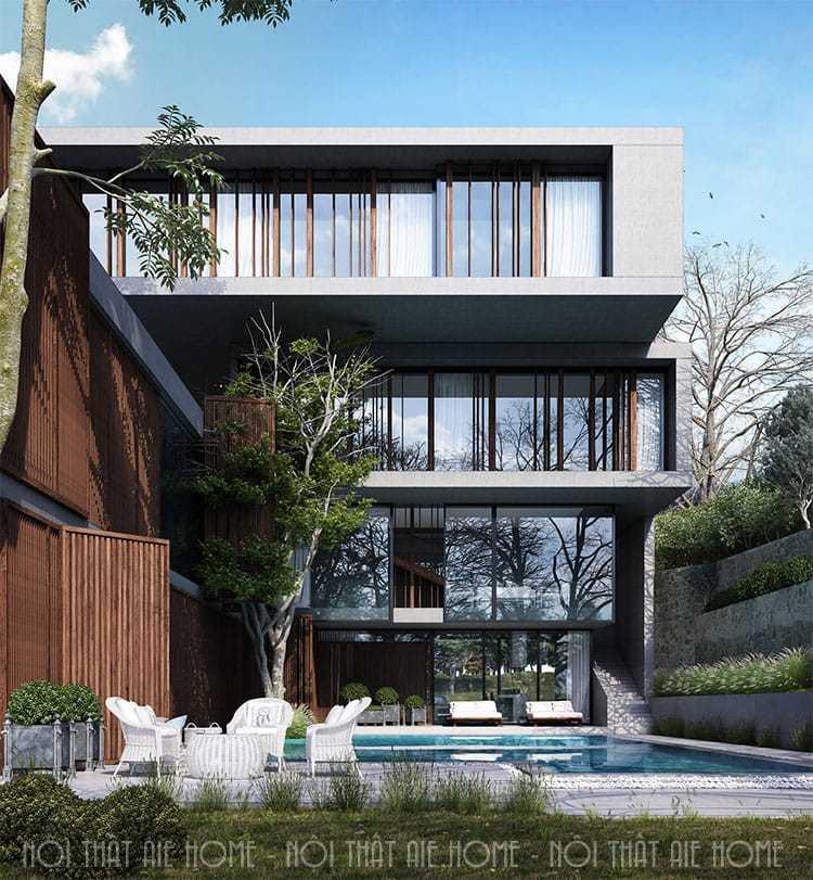 Làm thế nào để thiết kế nhà biệt thự mặt tiền 7m hút mắt người nhìn